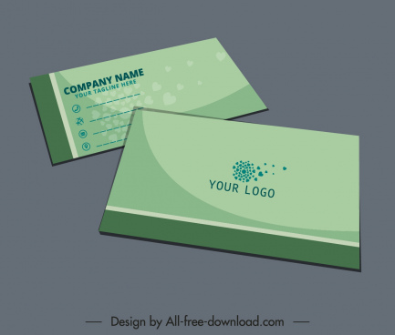 business card template green plain decor
