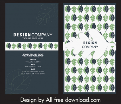 business card template handdrawn classic flat leaf sketch