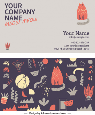 business card template handdrawn classical animals plants decor