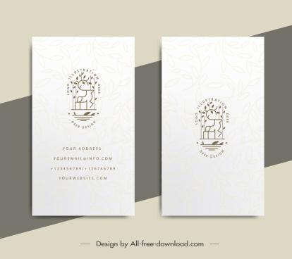 business card template handdrawn reindeer sketch