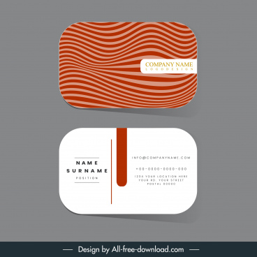 business card template illusion curves motion plain decor