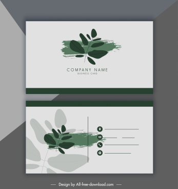 business card template leaf decor paint splash