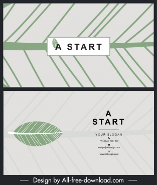business card template leaf pattern decor flat design