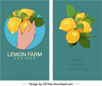 business card template lemon fruits sketch classic elegance