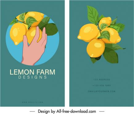 business card template lemon fruits sketch classic elegance