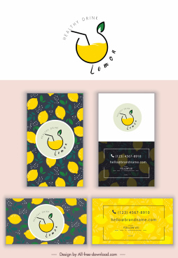business card template lemon juice theme flat handdrawn
