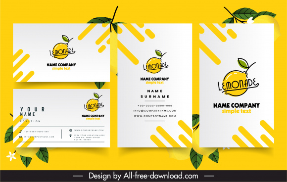 business card template lemonade logotype flat handdrawn sketch