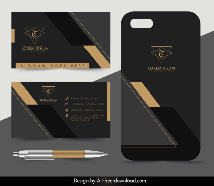 business card template luxury dark black decor