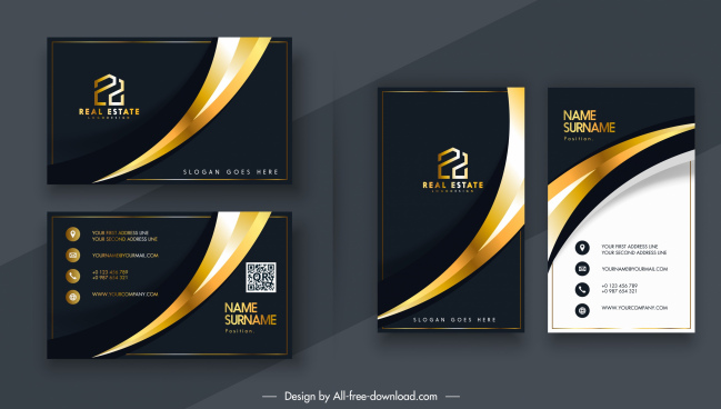 business card template luxury elegant contrast curves decor