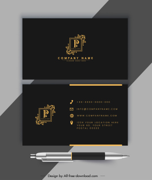 business card template luxury golden black royal design