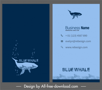 business card template marine theme whale icon sketch