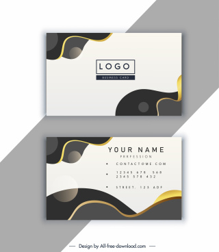 business card template modern bright abstract curves decor