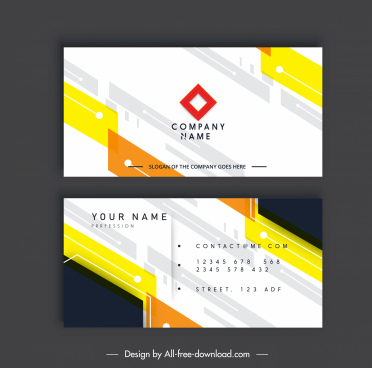 business card template modern bright abstract flat decor