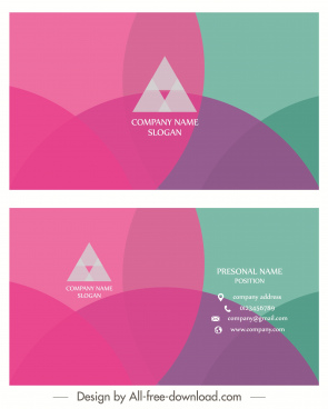 business card template modern colorful flat transparent decor