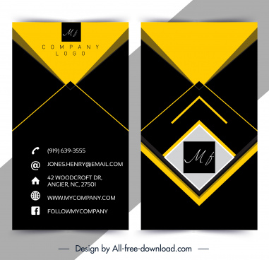 business card template modern elegant black yellow geometric