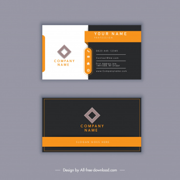 business card template modern elegant dark white decor