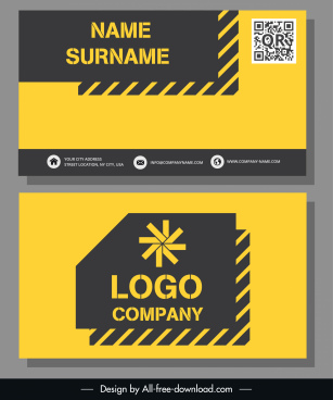 business card template modern flat black yellow decor