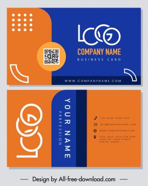 business card template modern flat blue orange decor