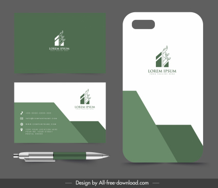 business card template modern flat green white decor