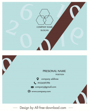 business card template modern flat plain numbers decor
