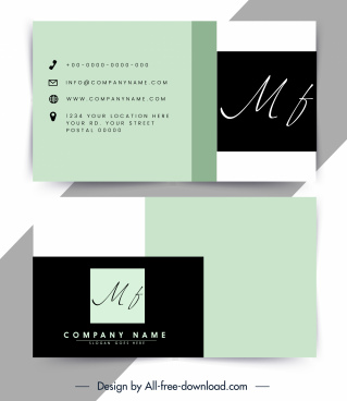 business card template modern plain texts decor