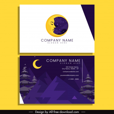 business card template mountain scene moon decor