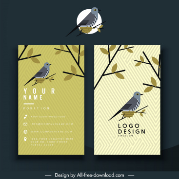 business card template natural bird leaves decor