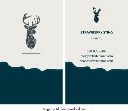 business card template natural reindeer logo decor