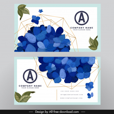 business card template nature petals points connection decor