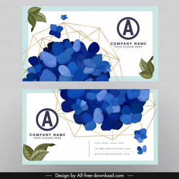 business card template nature petals points connection decor