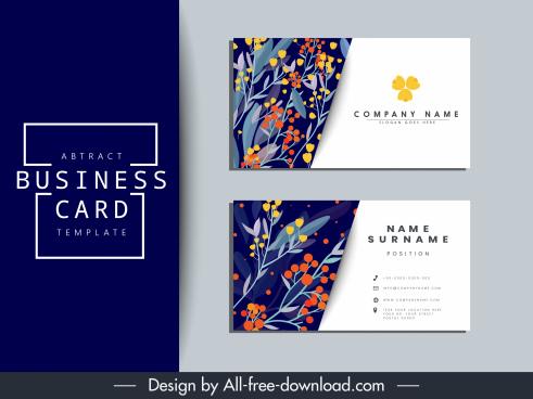 business card template nature theme classical flora decor