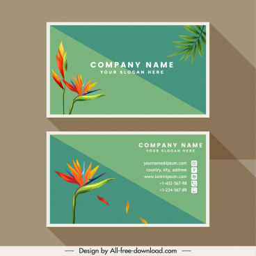 business card template nature theme flora decor