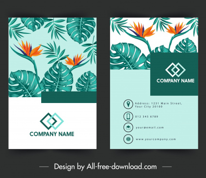 business card template nature theme flowers leaves decor