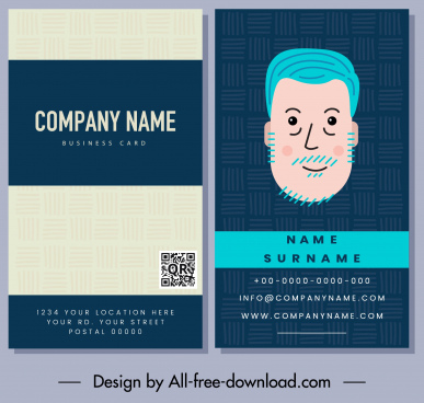 business card template old man sketch classic handdrawn