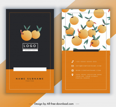 business card template orange fruits decor