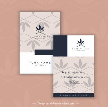 business card template petals decor repeating flat design