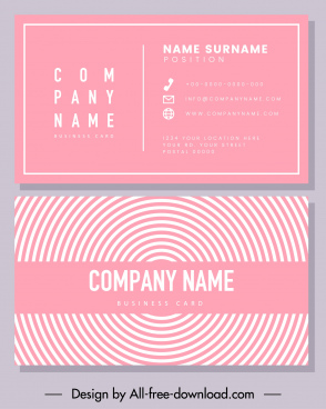 business card template pink flat symmetric rounded curves