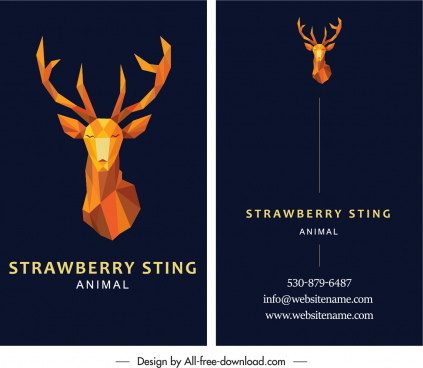 business card template polygonal 3d reindeer decor