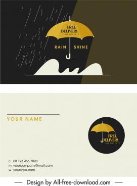 business card template rain umbrella sketch contrast design