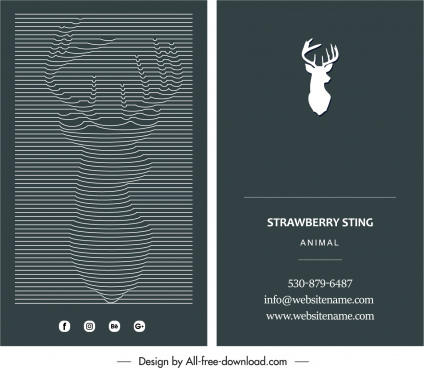 business card template reindeer icon black white decor