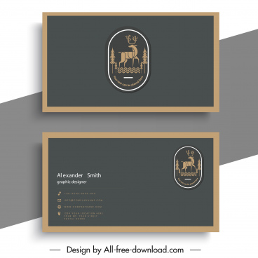 business card template reindeer logo classical plain design