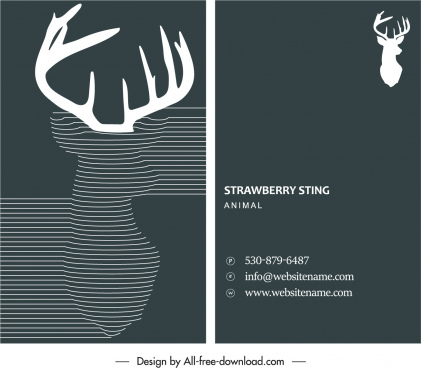 business card template reindeer sketch dark elegant decor
