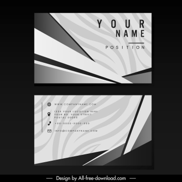business card template retro black white abstract decor