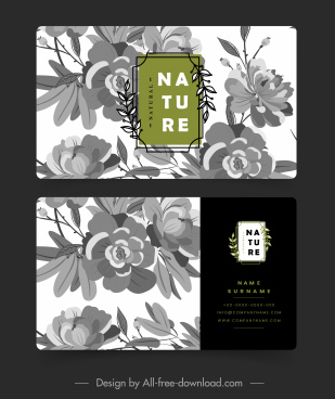 business card template retro botanical decor