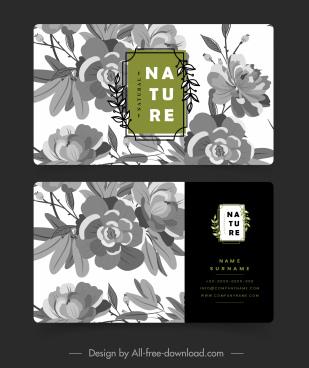 business card template retro botanical decor