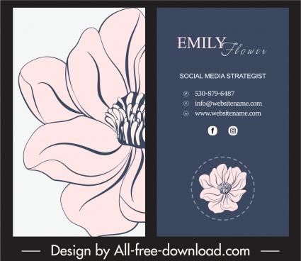 business card template retro dark handdrawn petal decor