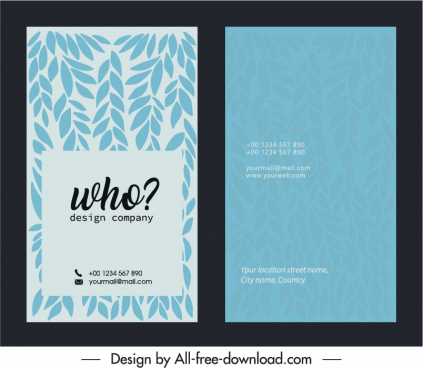 business card template retro flat leaves decor