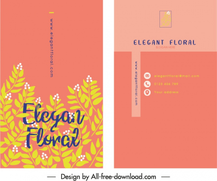 business card template retro flat plants decor