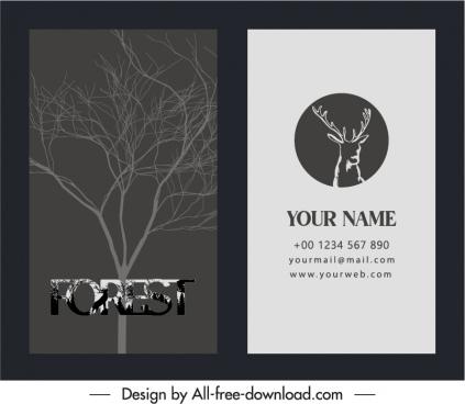business card template retro leafless tree reindeer decor