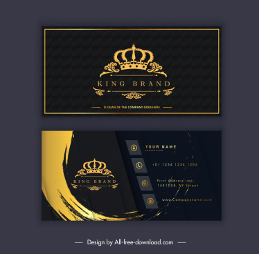 business card template royal crown elegant dark decor